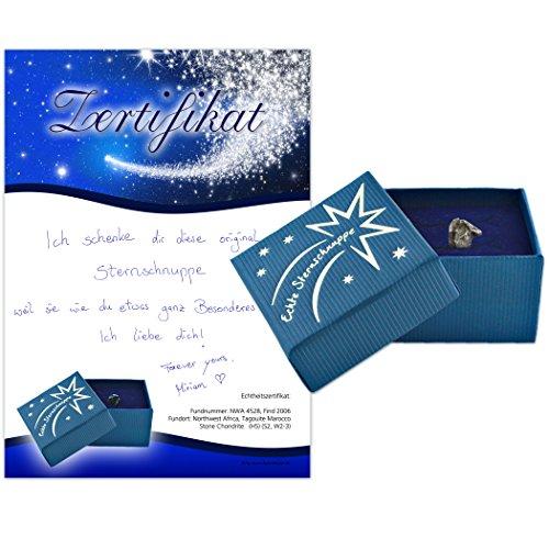 Echte Sternschnuppe in Geschenkbox - Meteorit mit Echtheitszertifikat und Taufzertifikat - zum Eintragen für Ihre persönliche Widmung
