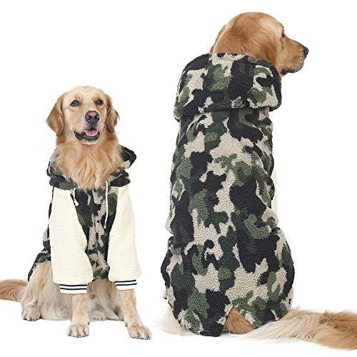 FLAdorepet Hundemantel für den Winter, warm, Fleece, Camouflage, für große Hunde, Welpen, Pyjama, Kleidung Golden Retriever Pitbull -