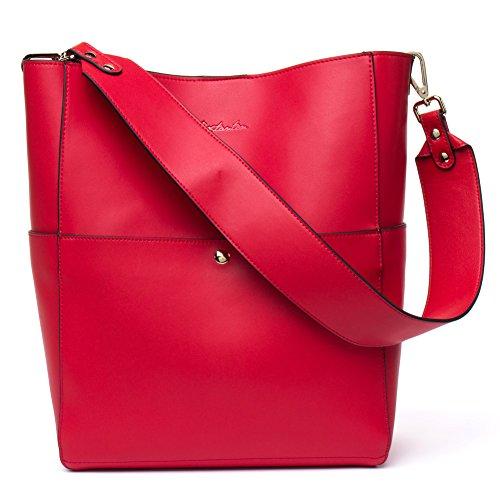 BOSTANTEN Leder Damen Handtasche Schultertasche Umhängetasche Designer Tasche Groß Rot (Schultertasche Designer)