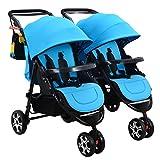 Zwillings-Spaziergänger, abnehmbares faltendes Dreirad, Kohlenstoffstahl-Körper, Superstoßdämpfer ( Color : Blue )