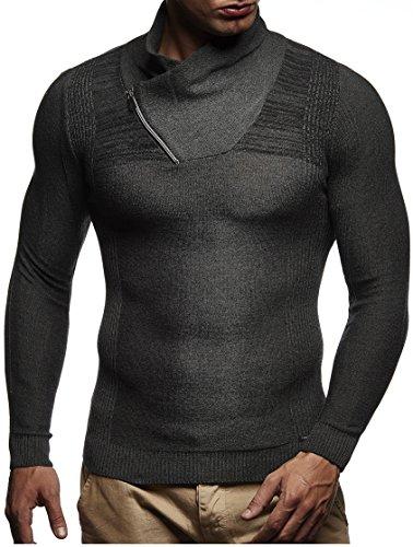 LEIF NELSON Herren Pullover Strickpullover Hoodie Longsleeve langarm Sweater Sweatshirt Fein-Strick Basic Schalkragen Crew Neck LN1615; Grš§e M, Anthrazit-Schwarz