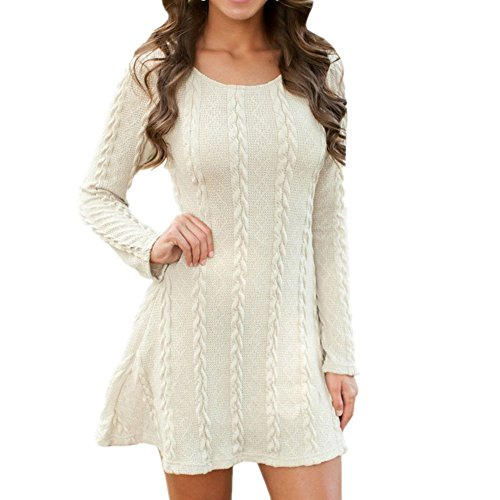 BienBien Robe Pull Tricot Femme Manches Longues Automne Hiver Mince Robe Sweater Tricot Casual A Line de Cocktail Party Mini-Robe Haut Pull-Over Jumper Tunique Blous