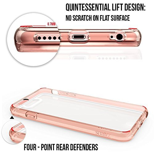 Custodia iPhone 6/6s Plus, ZUSLAB Antiurto TPU Paraurti PC Trasparente Anteriore e Posteriore 360° Protettivo Case per Apple iPhone 6/6s Plus [Compact][Trasparente] Oro Rosa