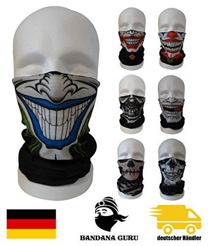 BandanaGuru máscara de joker motocicleta, máscara de cráneo tubo multifuncional para paintball/bicicleta/esquí/trote/senderismo/ciclismo/máscara rave (joker smile green)