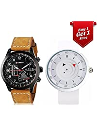 Talgo Curren Collection Festive Season Special Black Round Dial Brown Leather Strap And Round Dial White Rubber...