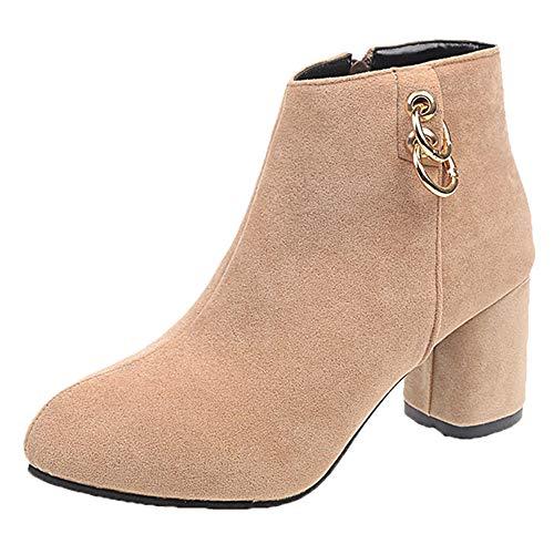 ❤️ Botas Cortas para Mujer de tacón Alto, Zapatos de tacón Alto de Mujer con Punta Redonda Botas de Cremallera de Color sólido Martin Boots Absolute