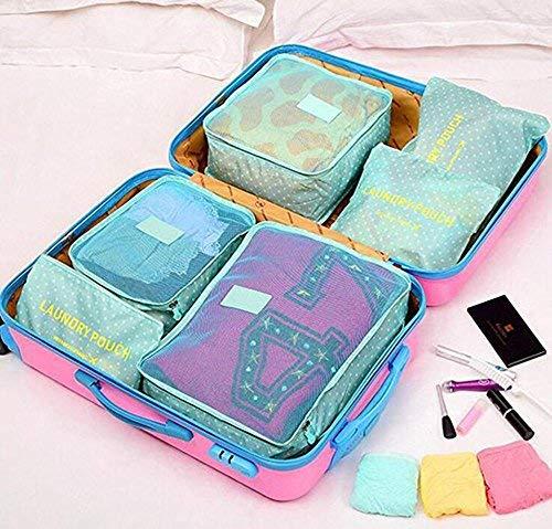 Koffer Organizer Reise Kleidertaschen, Wasserdichte Kofferorganizer Packtaschen Reisegepäck für Kleidung Schuhe Unterwäsche Kosmetik 6 Stück von KOBWA