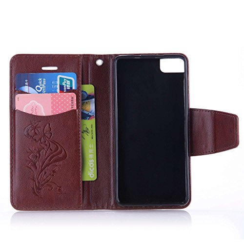 BQ Aquaris M4.5 Custodia, Cover per BQ Aquaris M4.5, JAWSEU BQ Aquaris M4.5 Custodia Portafoglio Pelle Protectiva Bumper [Shock-Absorption] Lusso 3D Sollievo Wallet Leather Flip Cover Custodia per BQ  Farfalla Diamante, Marrone