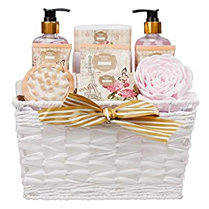9 Piece Large Relaxing British Rose Body & Bath Spa Basket Gift Set – Includes all Bathing Essentials Complete with…