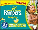 Pampers Baby Dry Nappies, Size 5+ (Total 70 Nappies)