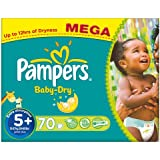 Pampers Baby Dry Size 5 + (Junior + ) Mega Box 70 Nappies