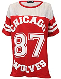 T-shirt Baseball Femme Imprimé CHICAGO 87 WOLVES Maille Université Jersey IC87