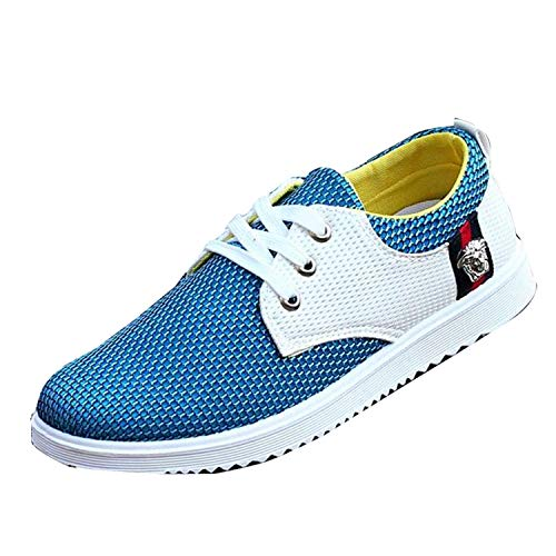 EARIAL& Men Lace Up Breathable Mesh Leather Boat Shoe Summer Dress Formal Casual Loafers Light Blue 41