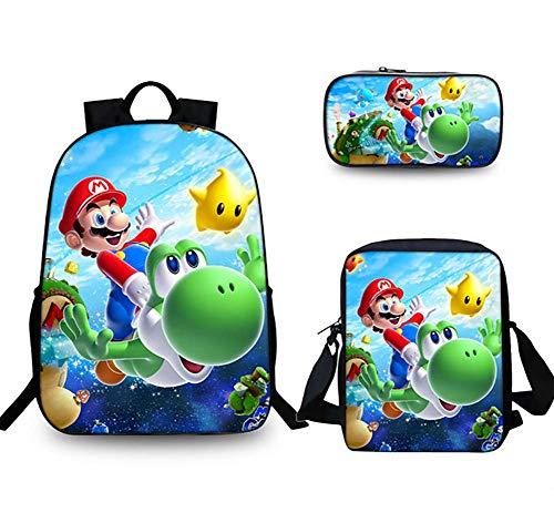 GHDE& SB Rucksack Set 3 Stück Super Mario Schultasche mit Schultertasche Mäppchen zum Teenager Jungs Mädchen,1