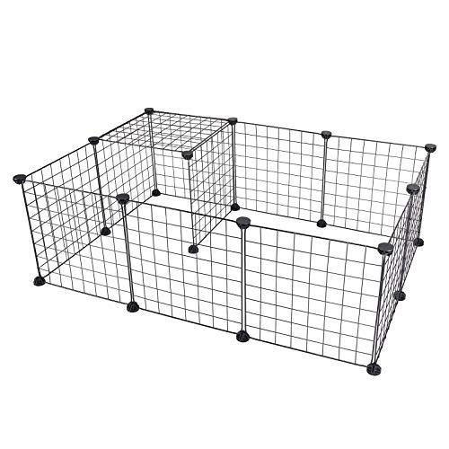 Eugad recinto per criceti conigli gabbia modulare diy in rete metallica recinzione per piccoli animali domestici martelletto incluso 12 pannelli 0002wl