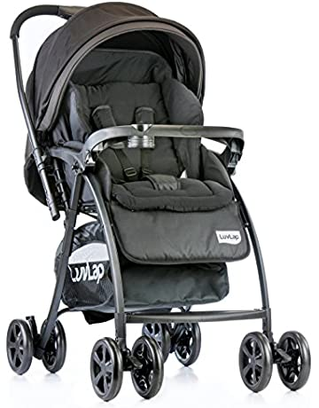 LuvLap Grand Stroller/Pram, Easy Fold, for Newborn Baby/Kids, 0-3 Years (Black)