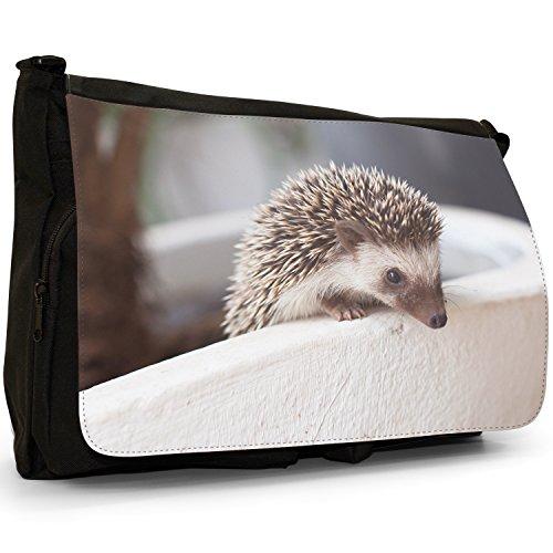 Puntura Riccio–Borsa Tracolla Tela Nera Grande Scuola/Borsa Per Laptop Hedgehog In Pot