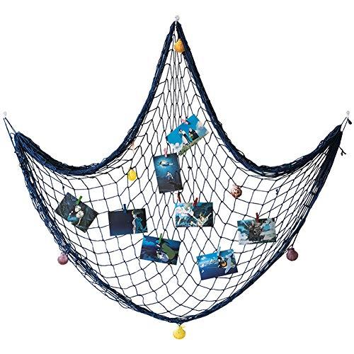 meleg otthon Fischernetz Deko,Foto wanddekoration,Muscheln Deko,Mediterranen Stil Fischerei Dekorative mit Farbigen Muscheln,Circa 150 x 200 cm (Blau)