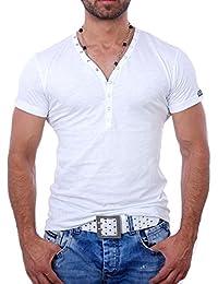 Young and Rich - T shirt blanc col v T shirt YR1444 blanc - Blanc