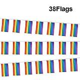 G2PLUS Schöne Wimpelkette 9.6 M Fahnen Girlande Wimpel mit 38 Stück Farbenfroh Wimpeln ideal für Geburtstagsparty; Feiern (1 PCS)