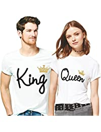 Hangout Hub King Queen Printed Men Women Tshirts 100% Cotton Casual Half Sleeve Round Neck White Color For Couple...