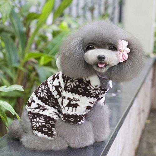 Sweatshirt Mit Kapuze Hund Flauschigen Mantel Overall W / Rentier Und Schneeflocke – Größe Xs - 3