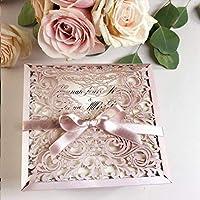 PARTECIPAZIONI matrimonio fai da te Shabby chic SET anniversario fidanzamento compleanno DIY carta perlata antico rosa taglio laser con 2 inserti busta avorio CONFEZIONE di 50 pezzi