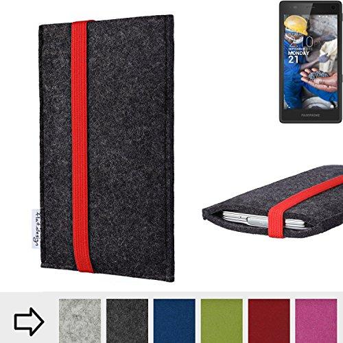 Handy Hülle COIMBRA mit Gummiband-Verschluss für Fairphone Fairphone 2 - Schutz Case Smartphone Etui Filz Made in Germany in anthrazit rot - passgenaue Handytasche für Fairphone Fairphone 2