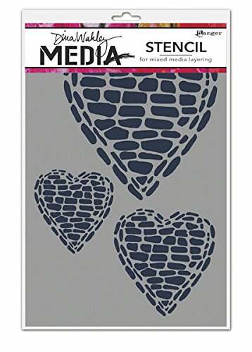 Deals For Ranger Pebble Heart Dina Wakley Stencil, White Reviews