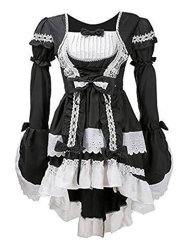 Lolita Kleid Damen Kostüm gotische Kleider Schürze Cosplay Kostüm zum Karneval Fasching (Schwarz)