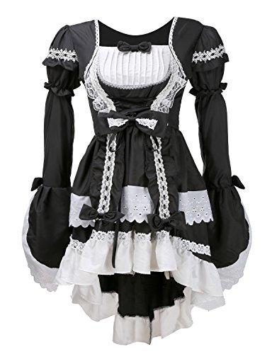 Lolita Kleid Damen Kostüm gotische Kleider Schürze Cosplay Kostüm zum Karneval Fasching (Billig Kostüme Sexy Frauen)