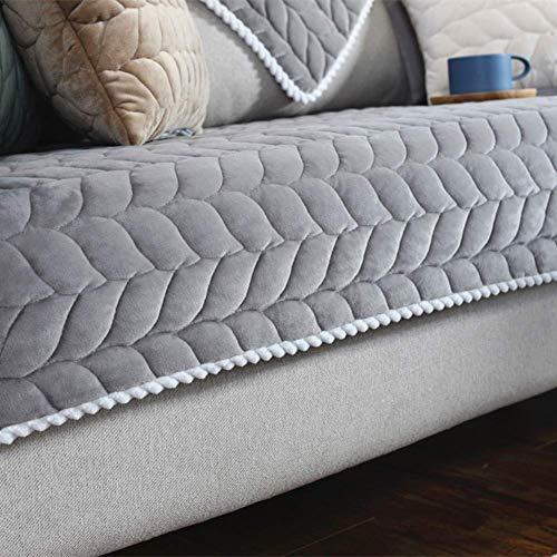 HIGHKAS Fundas Toallas sofá Felpa Ultra Suaves, espesas Fundas sofá Antideslizantes para amortiguación sofá Cómodo Piso Alfombrilla Bay Bay Colchón Topper-Gris 90x240cm (35x94 Pulgadas)