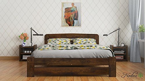"New Double Solid Wooden Pine Bedframe ""F1"" with slats (4ft6in, walnut)"