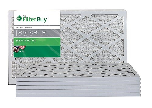FilterBuy 10x25x1: AFB Silver MERV 8 10x25x1 Pleated AC Furnace Air Filter. Pack of 6 Filters. 100% produced in the USA