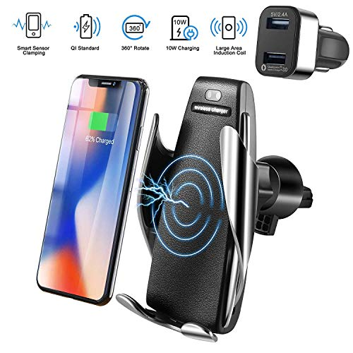 Xihone Automatic Clamping Wireless Car Charger Mount, Car Charger Holder for iPhone XR XS Max X 8 8+,10W Fast chargeing for Samsung All. Motion Sensor Automatic Open and Clamp for Safe Driving -