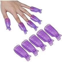 Tongshi 10PC plástico del arte del clavo empapa del clip del casquillo polaco ULTRAVIOLETA del gel removedor Wrap (C)