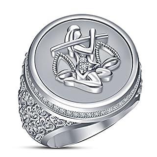 Vorra Fashion Zodiac Sing Ariex White Platinum Plated 925 Silver Men's Band Ring Rd Cut CZ (S 1/2)