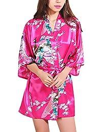 85046bb8c5 HX fashion Pijamas Mujer Kimono Corto Verano Elegante Vintage Sencillos  Diario Flores Estampado Albornoz Batas Camison