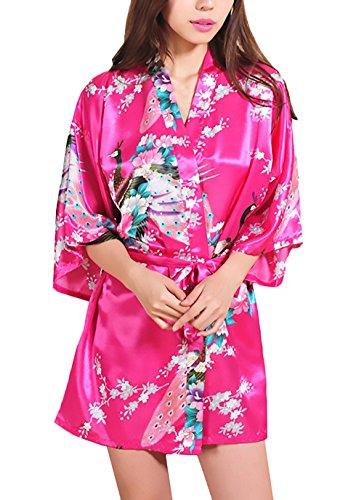 HX fashion Pijamas Mujer Kimono Corto Verano Elegante Vintage Sencillos Diario Flores Estampado Albornoz Batas Camison V Cuello Con Cinturón