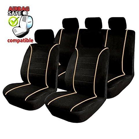 akhan sb305–Housses déjà Housse Housses de qualité Housse de siège auto avec AIRBAG latéral, noir/beige