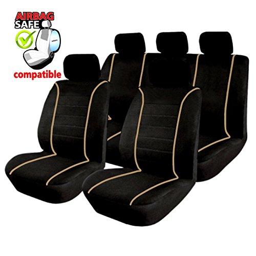 Akhan SB304 Coprisedili di qualità per Auto, con airbag laterale, Nero/B