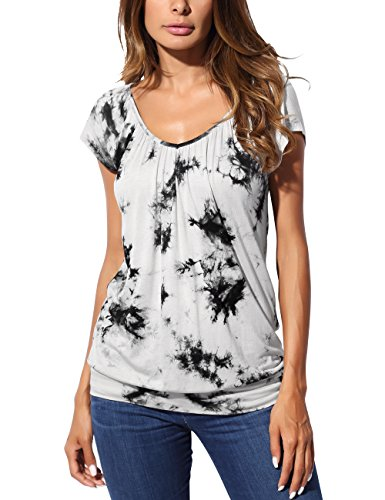 DJT Women's Short Sleeve Tie Dye T Shirt V Neck Pleated Comfy Fit Blouse Tunic Top
