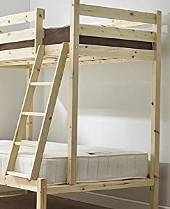 Pine Triple sleeper bunk bed - 4ft 6 double Three sleeper bunkbed with 2x sprung mattresses