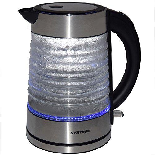 Syntrox Germany WK-2000W-1.7G Agua 2000 Watt 1,7 Liter Edelstahl schnurlos Glas Wasserkocher mit blauem LED Licht 360° cordess Wasserkessel Teekessel - 2
