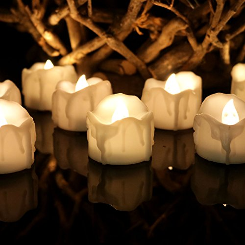 Youngerbaby 12pcs Warm White Flickering Flashing Light LED Tea Light Flameless Candles,Wax Dripped Battery-powered LED Tealights For Wedding Christmas Outdoor Party by Youngerbaby