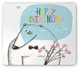 Woodland Mouse Pad, Sketch Bear Celebrating Birthday with a Bow Tie Festive Happy Occasion Design, Standard Size Rectangle Non-Slip Rubber Mousepad, Multicolor 9.8 X 11.8 inch