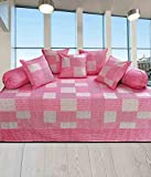 #4: Geonature Pink centro cotton Diwan set 1 single bedsheet, 5 Cushion Covers and 2 Bolster Covers (Check1)