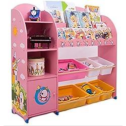 Sz5cgjmy ® Étagère pour enfants pour livres, jouets avec boîtes de rangement mobilier de chambre d'enfant (Beige)