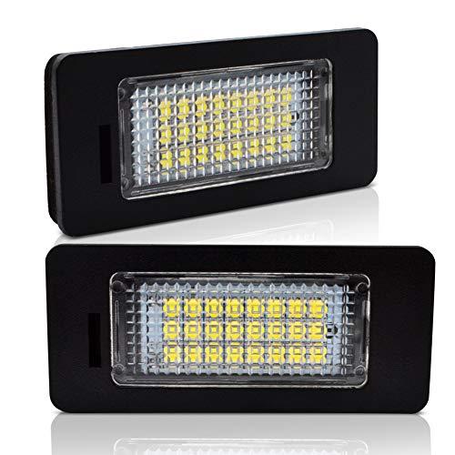 LncBoc LED Luci targa per auto Lampada targa 3W 12V 24SMD con CanBus nessun errore 6000K Xeno Bianco freddo per Q5 A1 A4 A5 A6 A7 TT TTS TTRS RS5, 2 Pezz