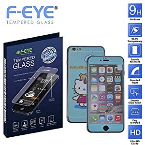 F-EYE® Tempered Glass iPhone 6s, 6D Hello Kitty, Front +Back Screen Protector, HD, Unique Method, Reduce Fingerprint, Anti-oil, Bubble Free Retina and HD Super compatible and high quality Ultra Slim & smooth touch, Thickness, High crystal clarity- explosion proof- anti scratch- protective glass 9H hardness, Easy To Install in your device(Apple iPhone 6s)